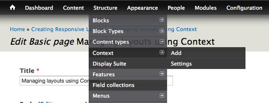 Admin menu bar structure - context
