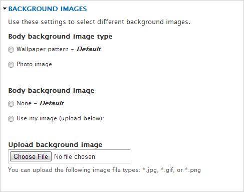 Theme Options for Background Images