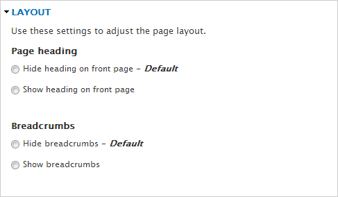 Theme Options for Layout